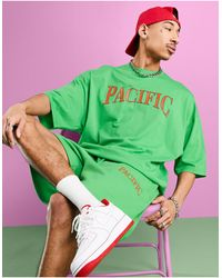 ASOS Set Oversized T-shirt With Front Text Print - Green