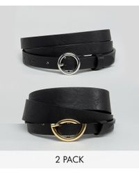 ASOS - Asos Design Curve 2 Pack Circle Buckle Waist And Hip Jeans Belts - Lyst