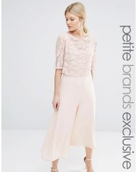 John Zack Culottes Jumpsuit With Lace Bodice And Sleeves - Nude - Pink