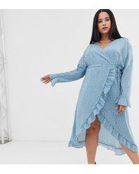Boohoo Exclusive Wrap Midi Dress In Blue Polka