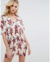 Missguided - Floral Pleated Shift Dress - Lyst