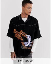 Heart & Dagger Oversize-рубашка С Фирменным Змеиным Принтом -черный