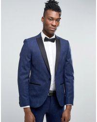 Noose And Monkey Super Skinny Tuxedo Suit Jacket In Paisley - Blue