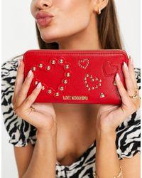 Love Moschino Portafogli lungo rosso con cuori