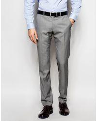 Ben Sherman Plain Wool Blend Suit Pants - Gray