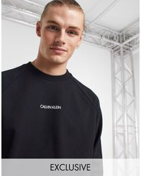 Calvin Klein Exclusive To Asos Central Front And Vertical Back Logo Sweatshirt - Black
