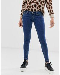 ONLY Wonder - Skinny Jeans Met Lage Taille, Gerafelde Zoom En Enkellengte - Blauw