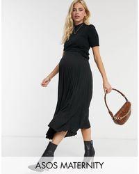 ASOS ASOS DESIGN Maternity - Gonna midi a pieghe nera - Nero