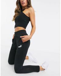 PUMA – Essentials – e Jogginghose mit Drapierung - Schwarz