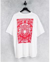 Honour HNR LDN Plus - T-shirt oversize à imprimé Spiritual au dos - Blanc