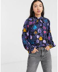 Monki Блуза С Разноцветным Цветочным Принтом -мульти - Синий