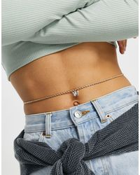 ASOS Belly Chain With Butterfly Charm - Metallic