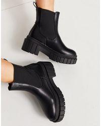 Public Desire Zenya - Chelsea Boots Met Dikke Zool - Zwart