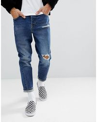 ASOS Asos Twisted Seam Tapered Jeans - Blue