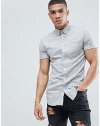 New Look - Muscle Fit Shirt In Grey Marl - Lyst