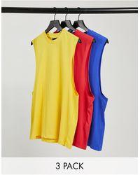 ASOS - Confezione da 3 T-shirt comode senza maniche con giromanica ampio - Lyst