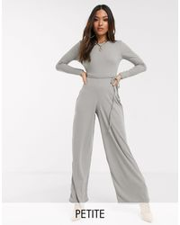 Missguided Ribbed Jumpsuit With Tie Waist - Gray