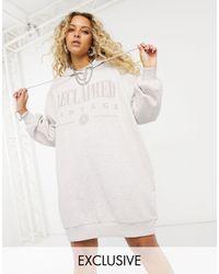Reclaimed (vintage) Inspired Logo Hoodie Dress - White