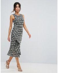 Warehouse Monochrome Lace Dress - Multicolour