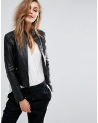 BOSS Orange By Hugo Boss Janabelle Leather Jacket - Black