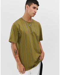 Weekday Frank Vertical Stripe T-shirt In Khaki - Green