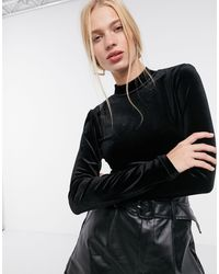 Glamorous Body en velours à dos ouvert et col montant - Noir