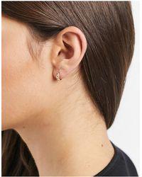 Astrid & Miyu Sterling Silver 18k Gold Plated Crystal Asymmetric huggie Hoop Earrings - Metallic