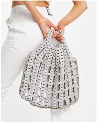 TOPSHOP Buttery Pu Woven Grab Clutch Bag - Blue
