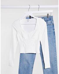 Monki Vinnie - Top en jersey - Blanc