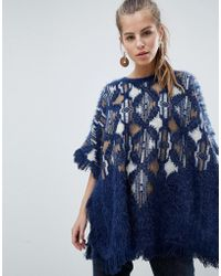 Oeuvre - Patterned Poncho Sweater With Fringe Detail - Lyst