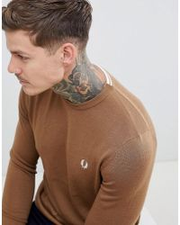 fb1104d2 Fred Perry Interlock Jersey Crew Neck Sweat In Camel in Natural for ...