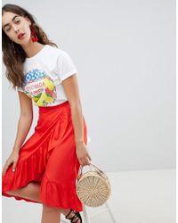 New Look - Ruffle Wrap Midi Skirt - Lyst