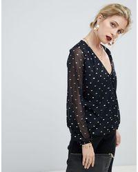 Oasis Blusa a portafoglio nera con stampa laminata - Nero