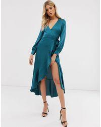 Club L London Атласное Платье С Запахом -синий