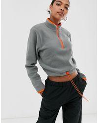 ASOS Fleece With Contrast Zip - Grey