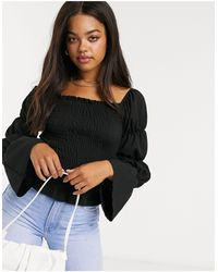 New Look Shirred Sleeve Top - Black