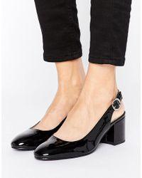 London Rebel Slingback Heeled Shoe - Black