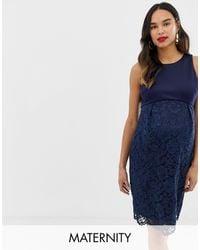 Chi Chi London Темно-синее Кружевное Платье-футляр -темно-синий