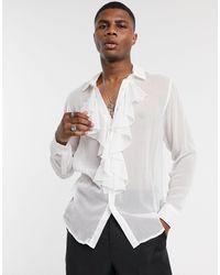 ASOS Regular Fit Textured Shirt With Ruffle Front Bib Detail - White