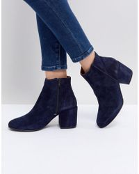 SELECTED - Suede Ankle Boot With Chunky Heel - Lyst