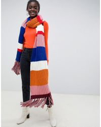ASOS Knitted Multi Stripe Super Long Scarf With Tassels - Blue