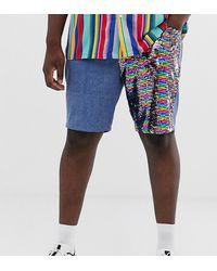 ASOS Plus - Short slim en jean avec empiècements à sequins - délavé moyen - Bleu