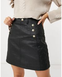River Island Belted Quilted Faux Leather Mini Skirt - Black
