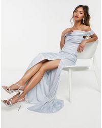 Goddiva Серебристое Платье Макси -серебристый - Металлик