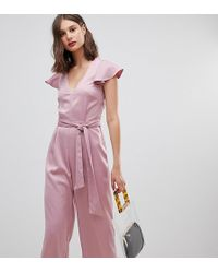 Warehouse Frill Sleeve Twist Back Jumpsuit In Pink