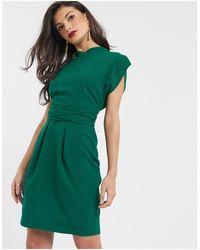Closet Платье Мини Изумрудно-зеленого Цвета С Завязкой На Спине -зеленый