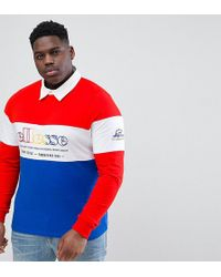 Ellesse - Colour Block Long Sleeve Rugby Polo Shirt In Red - Lyst