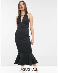 ASOS Vestido midi negro con diseño