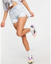 Abercrombie & Fitch Frayed Mom Shorts - Blue