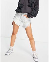 Glamorous Short en jean taille haute avec effet usé - Bleu